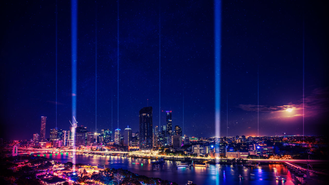 Sunsuper Night Sky Lights up Brisbane